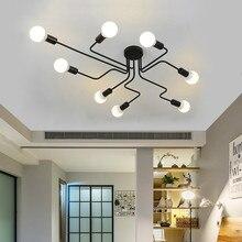 Luces de techo varillas múltiples de hierro forjado para sala de estar lámparas de techo industriales Vintage para el hogar accesorios de iluminación Cocina