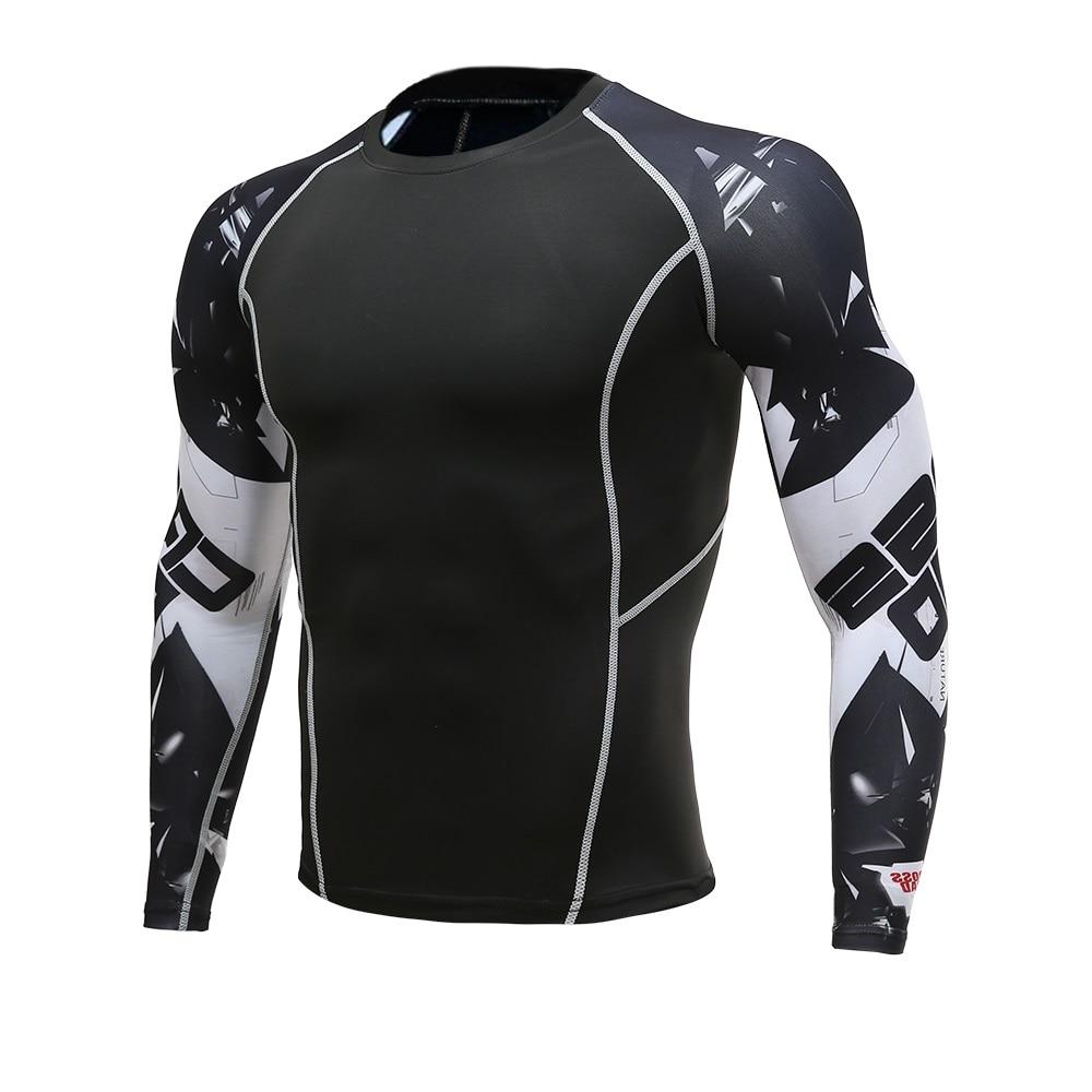 Hommes Fitness à manches longues Rashguard T Shirt Bodybuilding serré Compression chemise élastique Gym Sports course hauts vêtements de cyclisme