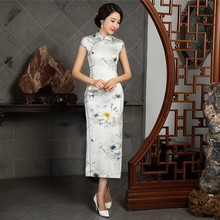 Charming Retro Silk Satin Cheongsam Chinese Traditional Cap Sleeve Evening Dress High-slit Full-Length Floral Qipao QP37