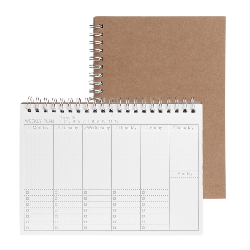 Planner Book Monthly Weekly Daily Agenda Schedule Blank Diary DIY Study Notebook Eco-friendly Paper Stationery School Supplies