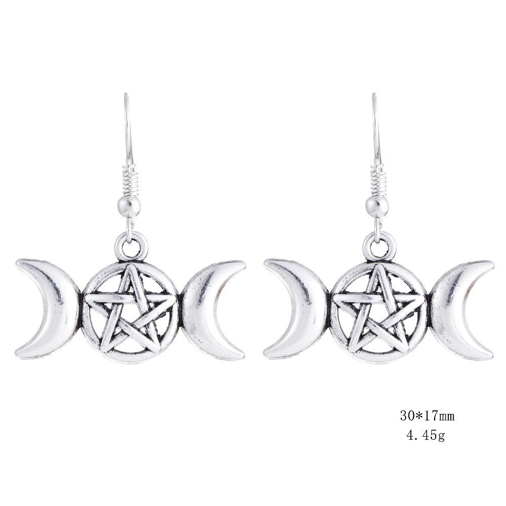 Boucles d'oreilles de la déesse Triple Lune, Déesse Wicca, pentacle Magique