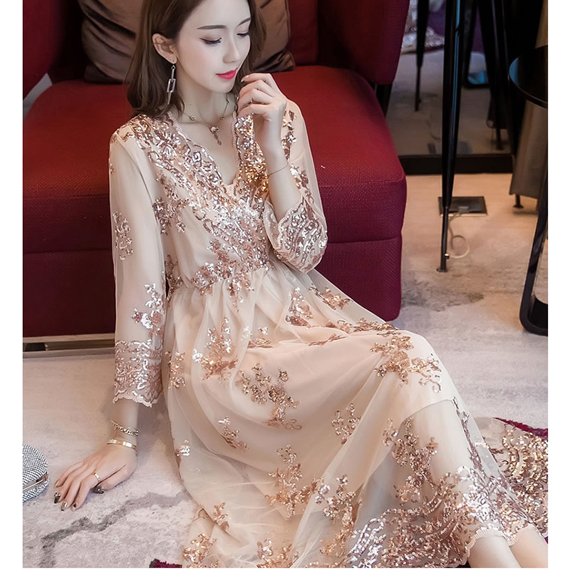 New Summer Women Dress Korean Style Fashion V Neck Long Sexy
