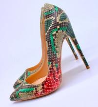 цена на 2019 Fashion free shipping Women lady sexy new snake leather Poined Toe Stiletto high heel pump HIGH-HEELED SHOES Wedding Shoes