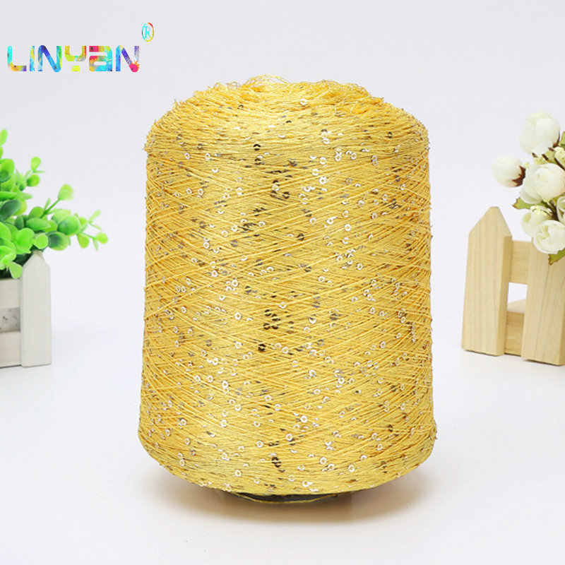 500g /lot paillette yarn Sequins wool needle Natural beads lace tie a knot yarn for hand knitting crochet thread line t50