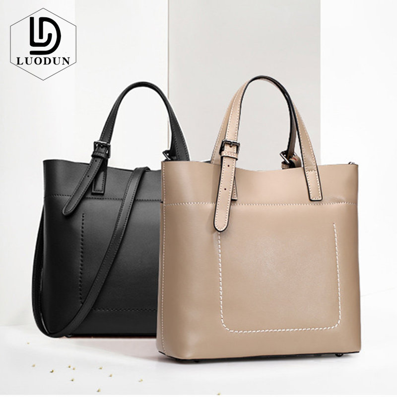 LUODUN Brand 2018 new cowhide handbag simple atmosphere ladies bag Europe and the United States fashion shoulder Messenger bag 2018 new tide in europe and the united states fashion handbag alma handbag shoulder bag free shipping