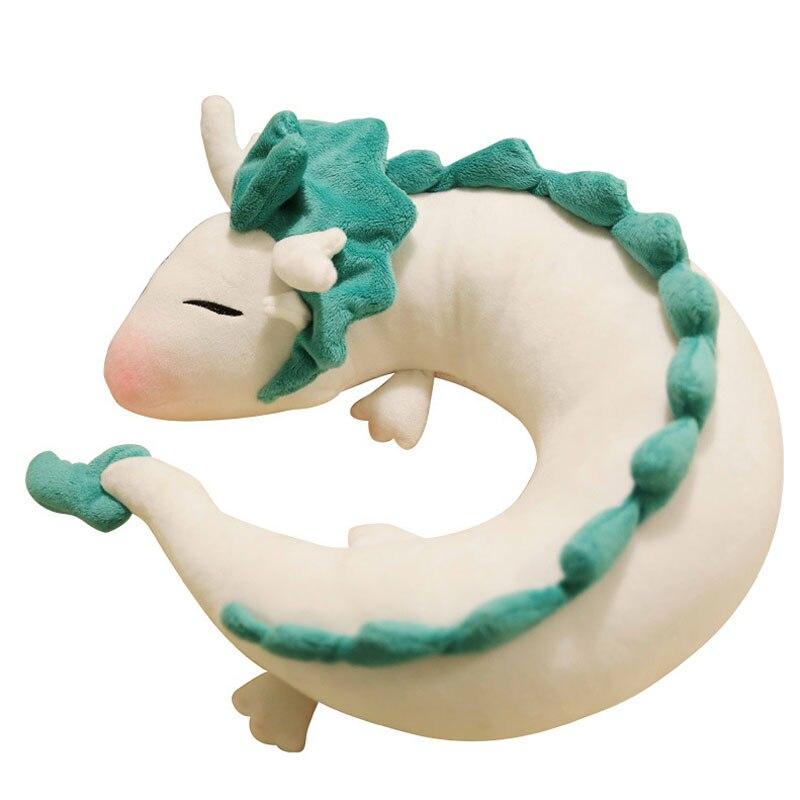 Elsadou Evalent Anime Cute White Dragon Doll Plush Toy Japanese Animation Pillow Neck U-Shape White new arrive anime kobayashi san chi no maid dragon plush toy dragon tail pillow cushion 2017