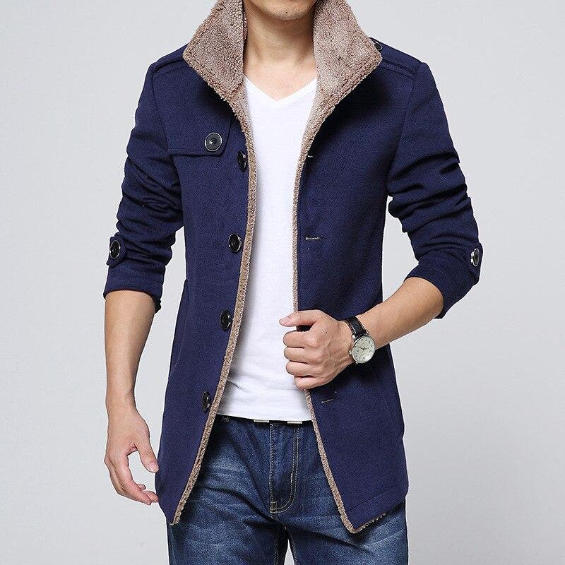 Nuevo 2018 de lana Casual chaqueta de los hombres abrigos de invierno hombre prendas de vestir exteriores