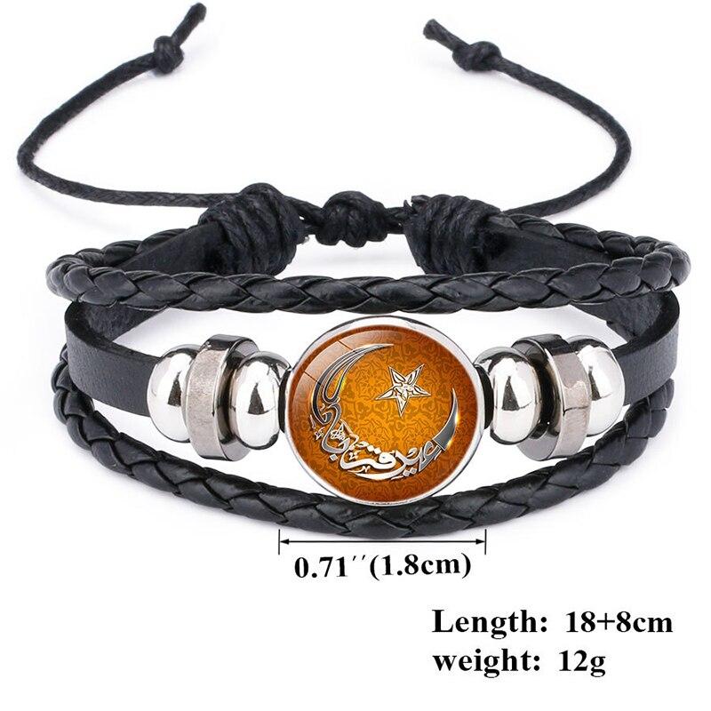 Fashion Gothic Punk Men Handmade Islamic Religion Allah Bracelets Vintage Multilayered Leather Rope Bracelet Jewelry Wholesale