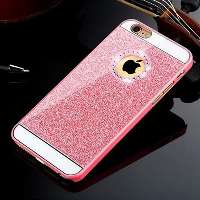 For apple iPhone 4 4s 5 5s 6 6s 6plus,Gold Glitter Acrylic cases luxury,coque cover iphone6s 4 5 6 S phone bling pink paillettes