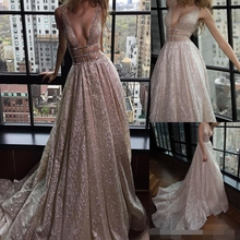 Spaghetti Straps A-Line Deep V-Neck Court Train Open Back Champagne Sequined Prom Dresses Beading Cutout Side Evening Dress