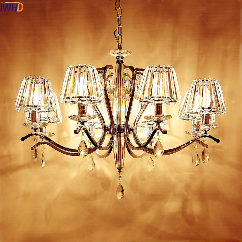 IWHD Modern Simple Crystal LED Pendant Lights Fixtures Steel Stainless Bedroom Living Room Pendant Light Lustres De Cristal free shipping modern led crystal pendant lamps crystal pendant lights round rings stainless steel dinning living room lights