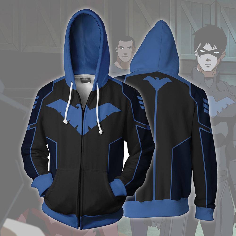 2019 New Autumn Winter Man 3D Print Nightwing Cosplay Zip Up Hoodie Hooded Jacket Clothing Halloween Party Prop