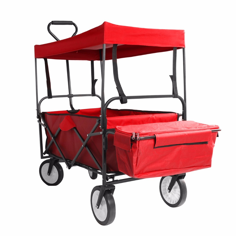EU Shipping ! Folding Wagon cart hand trolley cart Canopy Collapsible Outdoor Camping Shopping Garden Beach Wagon Bollerwagen 5l collapsible water container portable outdoor camping bucket
