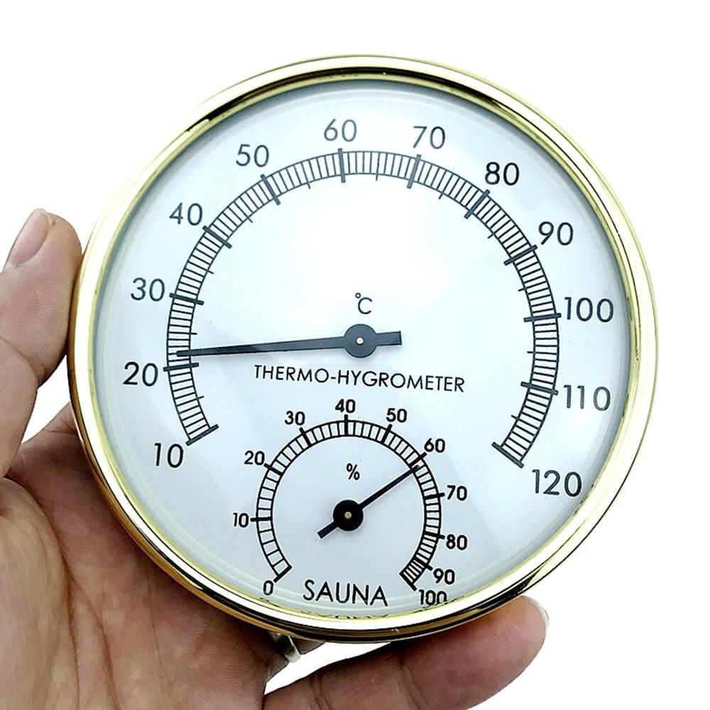 "Sauna stainless steel thermometer hygrometer 3.9"" Stainless Steel Edge Sauna Room Hygrometers Clock -0°C~120°C"