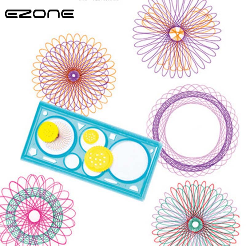 EZONE 1PC Geometric Plastic Multi-function Ruler Learning Drawing Tool Stationery Students Supplies Creative Gift Color Random