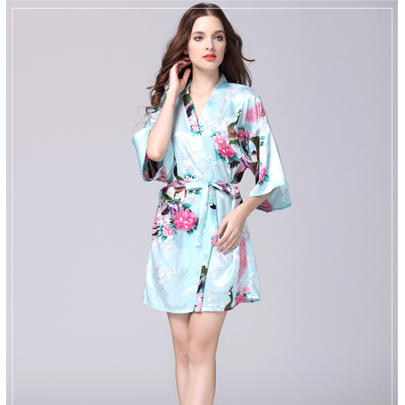 Causey 2018 Summer Floral Bathrobe Silk Satin Bridesmaid Robe Plus Size Short Kimono Robe Night Robe Bath Robe