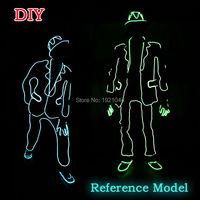 2017 New EL Wire Suits Fashion LED Clothes Luminous Costumes Glowing Gloves Shoes Light Clothing Men