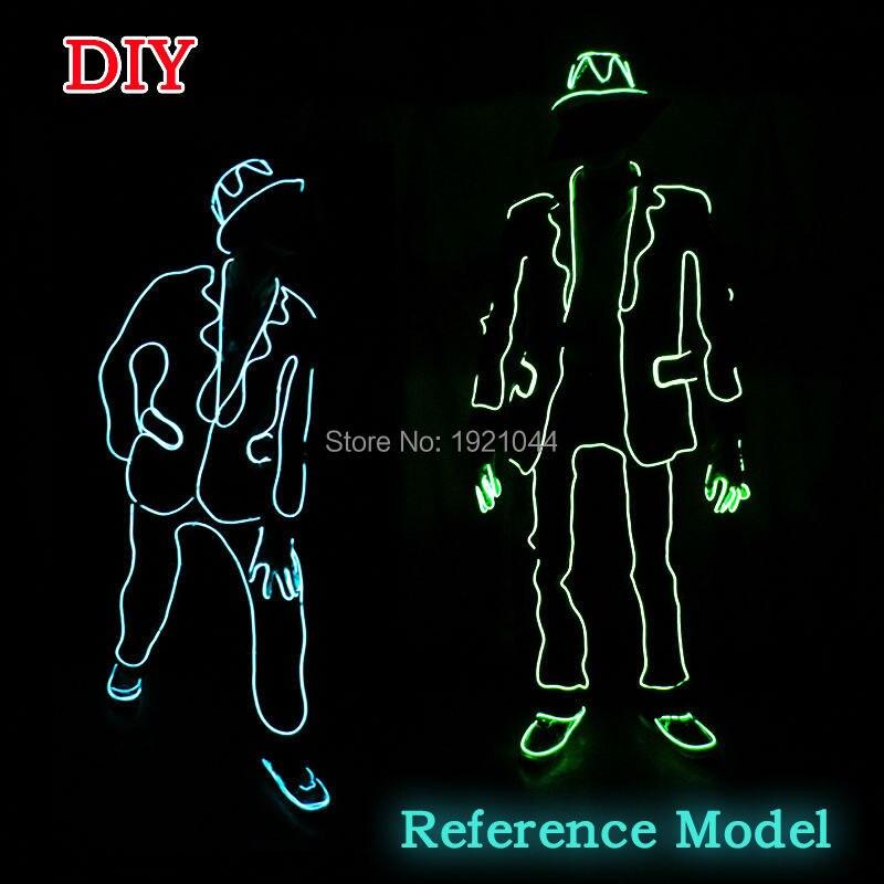 2017 새로운 엘 와이어 정장 패션 LED가 의류 빛나는 의상 빛나는 장갑 신발 라이트 의류 남성 엘 마스크 옷 댄스