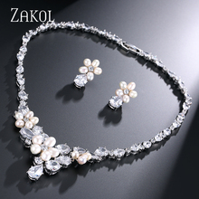 ZAKOL Exquisite Imitation Pearl Flower Connected Top Quality Cubic Zirconia Jewelry Sets for Wedding FSSP047