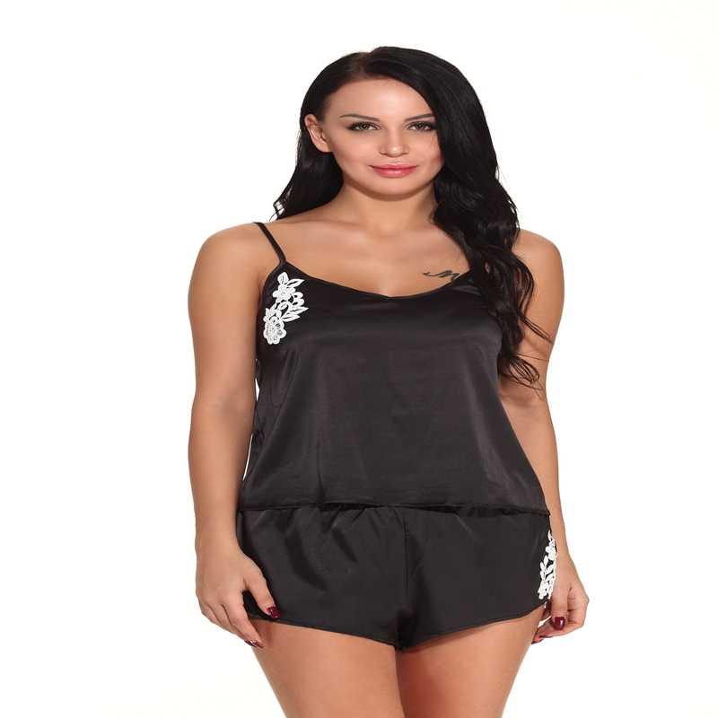 79f5984bc33 Navy Blue Black Pink Red Brown Slip Sleepwear Pajama Pants Women Sleep Shirt  Crop Top Shorts