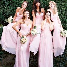 Chic Sweetheart Pleats Bridesmaid Dresses vestido madrinha 2017 A line Chiffon Long Party Gowns for Weddings Lovely Pink color