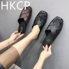 HKCP Woven half drag women 2019 new European American leisure wear square flat bottom lazy woman baotou sandals C022