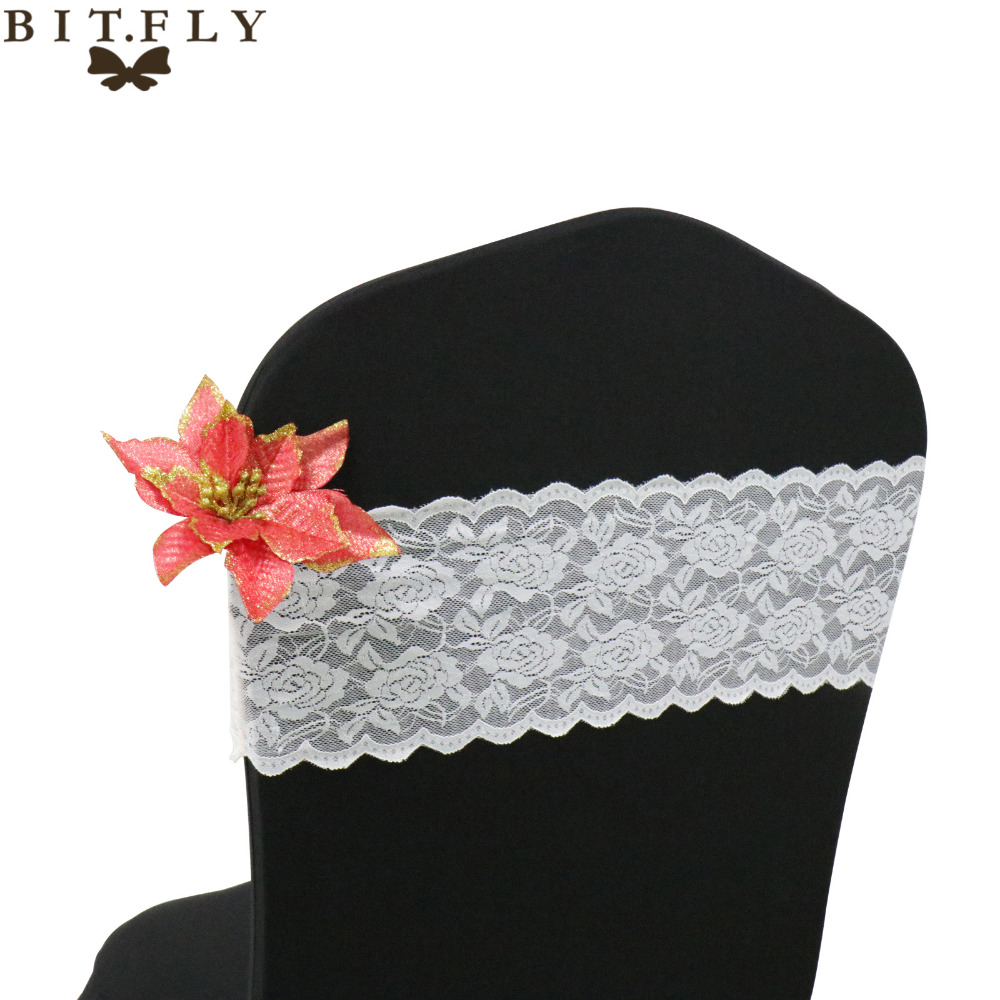 100pcs Pack White Black Ivory Spandex Stretch Lace Chair Cover Bands Sashes For Wedding Party Event