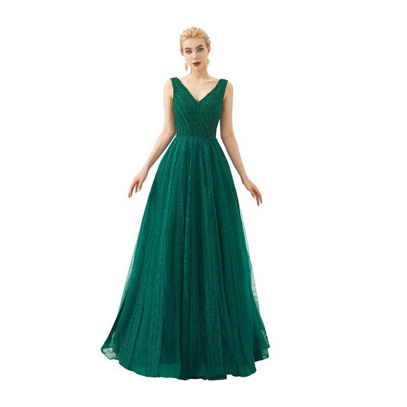 Elegant Tulle V Neck Backless Evening dresses long Vestido de festa longo Evening gown Vestidos de noche elegantes Serene hill