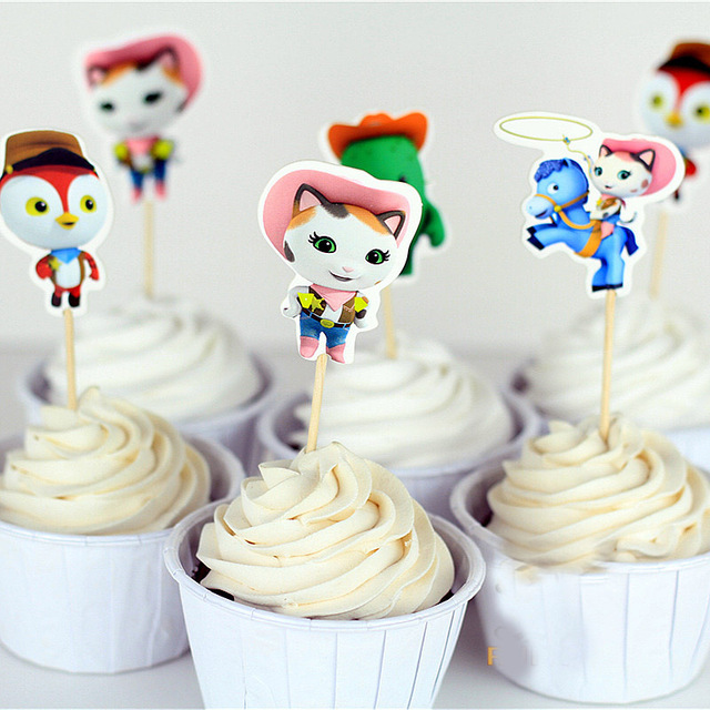 Us 3 73 72pcs Cute Sheriff Callie S Wild West Toy Story Sports Boy Cupcake Toppers Pick Decoration For Girl Kids Birthday Party Supplies In Cake