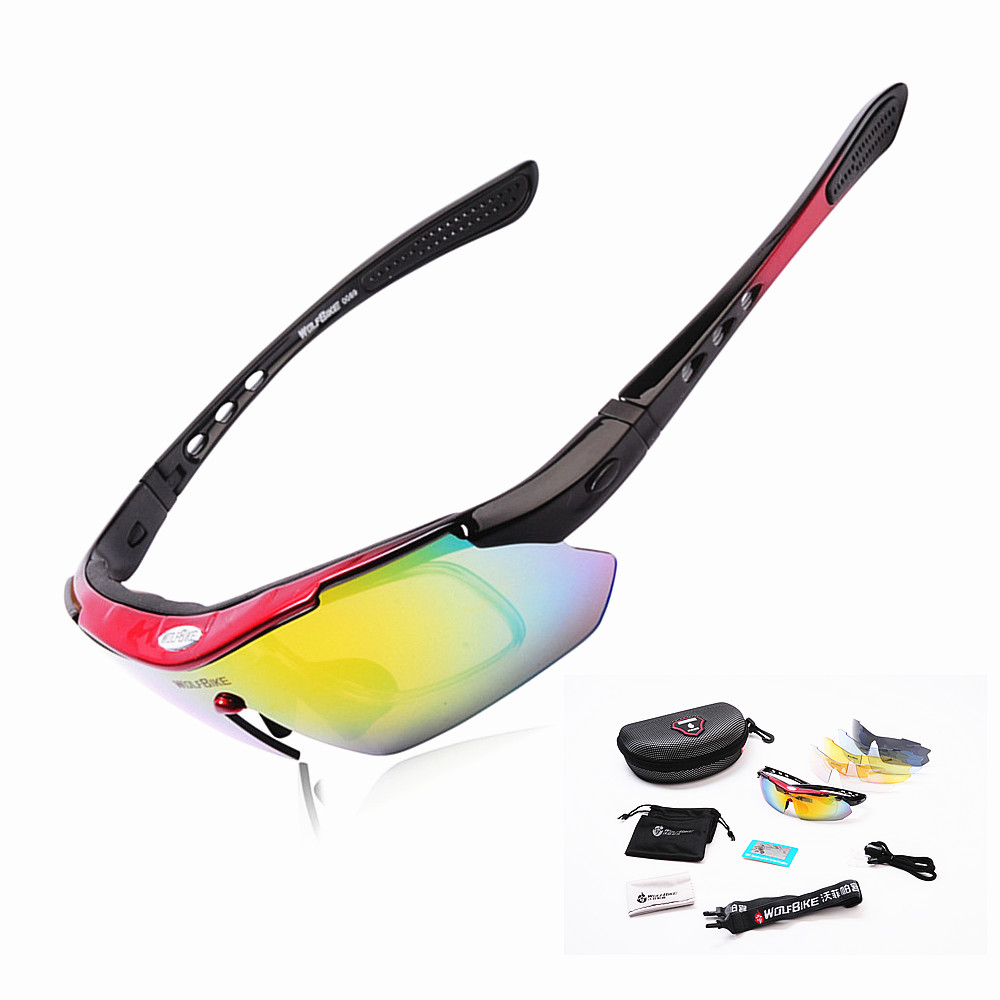 WOLFBIKE Polarized 5 Lens Cycling Eyewear Sun Glasses Mens Sports Bicycle Glasses Bike Sunglasses Driving Skiing Goggles Red obaolay outdoor cycling sunglasses polarized bike glasses 5 lenses mountain bicycle uv400 goggles mtb sports eyewear for unisex