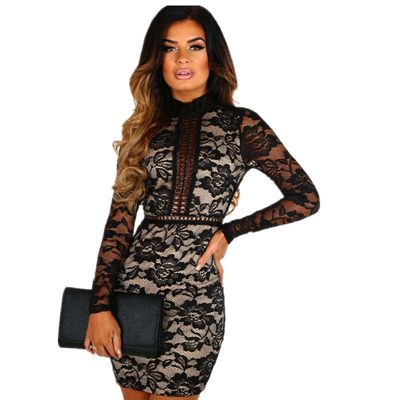 Sexy Black Lace Perspective Mesh Dress Women's Party Nightclub Long Sleeve Sexy Backless Skinny Hip Package Mini Dress