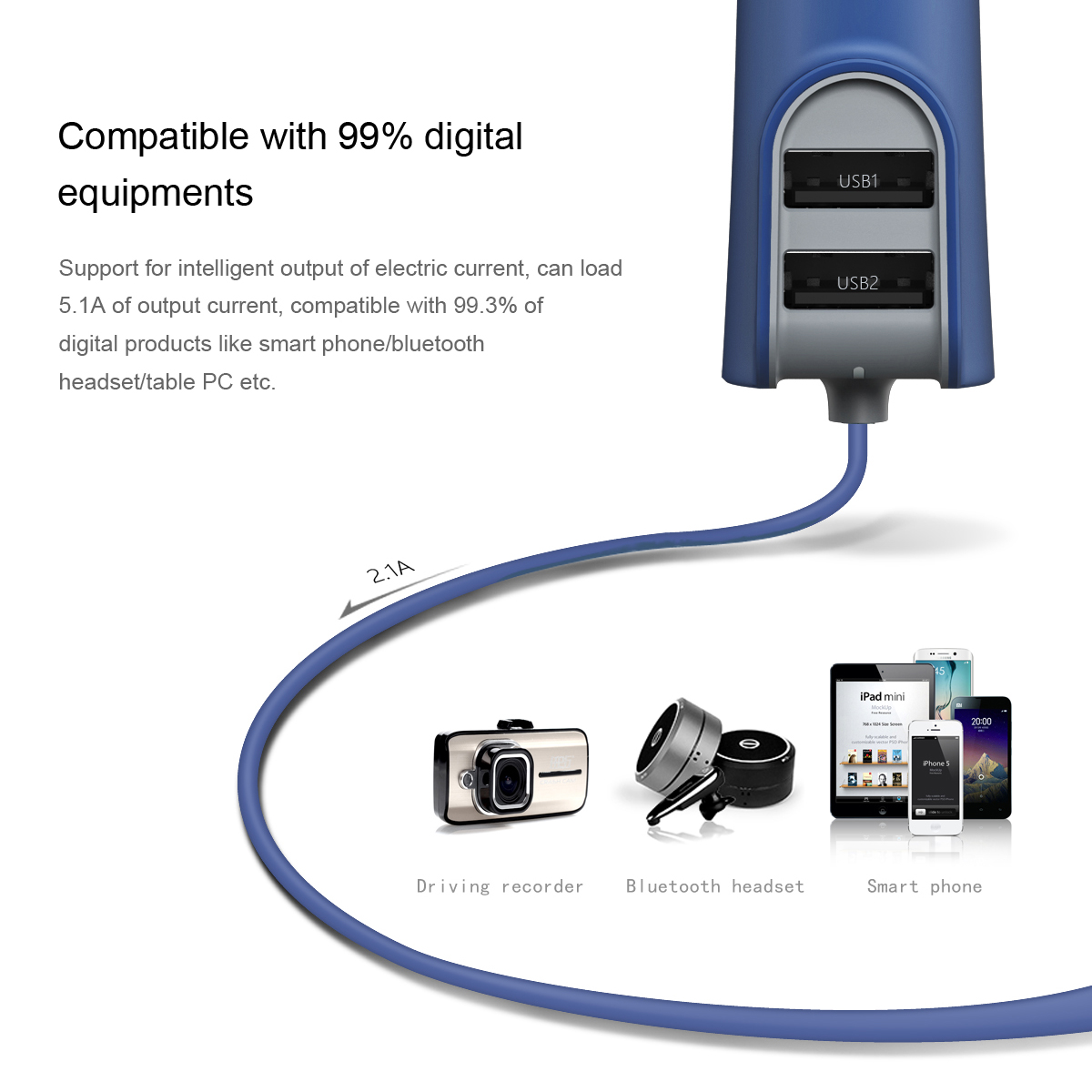 Dual iPhone Car Charger with data cable - 3 port USB Fast Charging 5