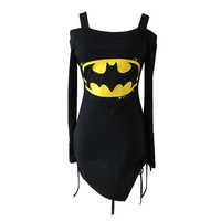 2017 Off Shoulder Summer Women Batman T Shirt Sexy Back Lace Up T Shirt Fitness Tights