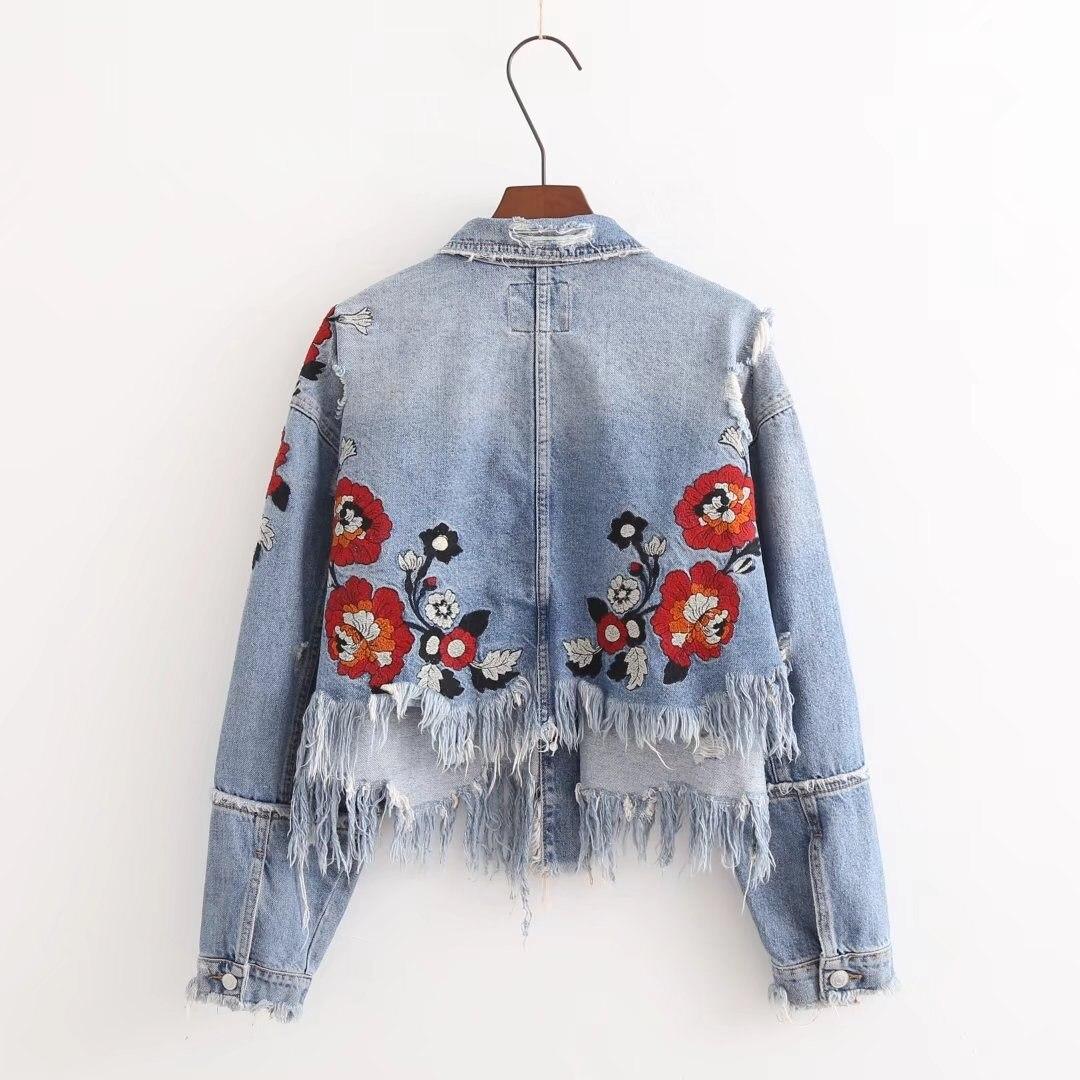 Autumn Women Holes Crop Denim Jacket Long Sleeve Embroidery Jeans Jackets Coat Short Ripped Loose Basic Jacket