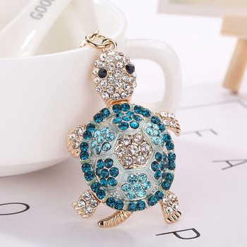Lady Hot Crystal Turtle Tortoise Trinket Keychain keychains key ring Alloy Purse Bag Keychain chaveiro portachiavi donna strass Брелок