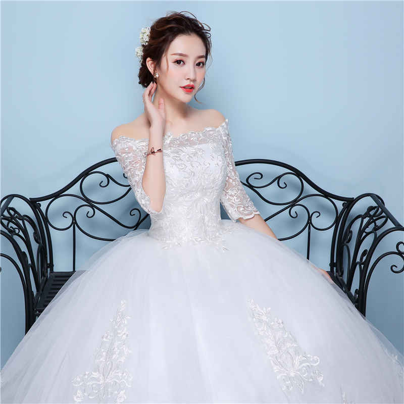 Image 5 - White Lace Boat Neck Half Sleeve Fashion Simple Wedding Gowns  Hiqh Quality Floor Length Big Embroidery Off the shouldersimple  weddingsimple wedding gownwedding gowns