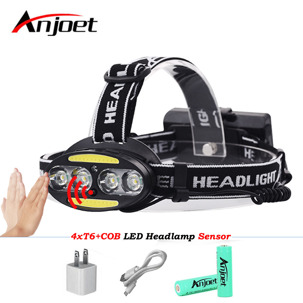 6 led headlamp headlight cree xml t6 cob IR Infrared Induction head rechargeable flashlight torch USB rechargeable 18650 battery