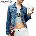 Neophil 2016 Vintage Frayed Slim Women Long Sleeve Single Breasted Oversized Denim Jackets 4XL Short Female Jeans Coats C1017
