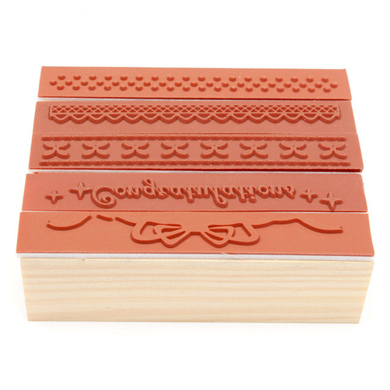 2016 korean lace bow dot wooden rubber stamp blocks craved for Custom craft rubber stamps