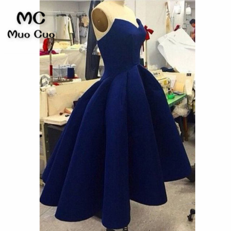2018 Navy Blue Hi Lo Gown Evening Dresses Prom Dresses Long