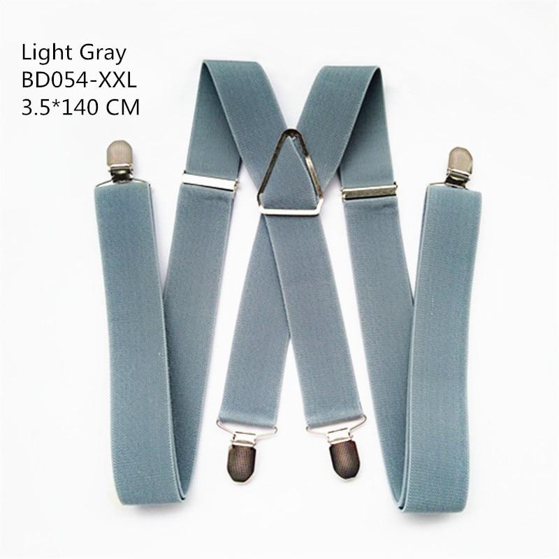 Одноцветные подтяжки унисекс для взрослых, мужские XXL, большие размеры, 3,5 см, ширина, регулируемые эластичные, 4 зажима X сзади, женские брюки, подтяжки, BD054 - Цвет: Light grey-140cm