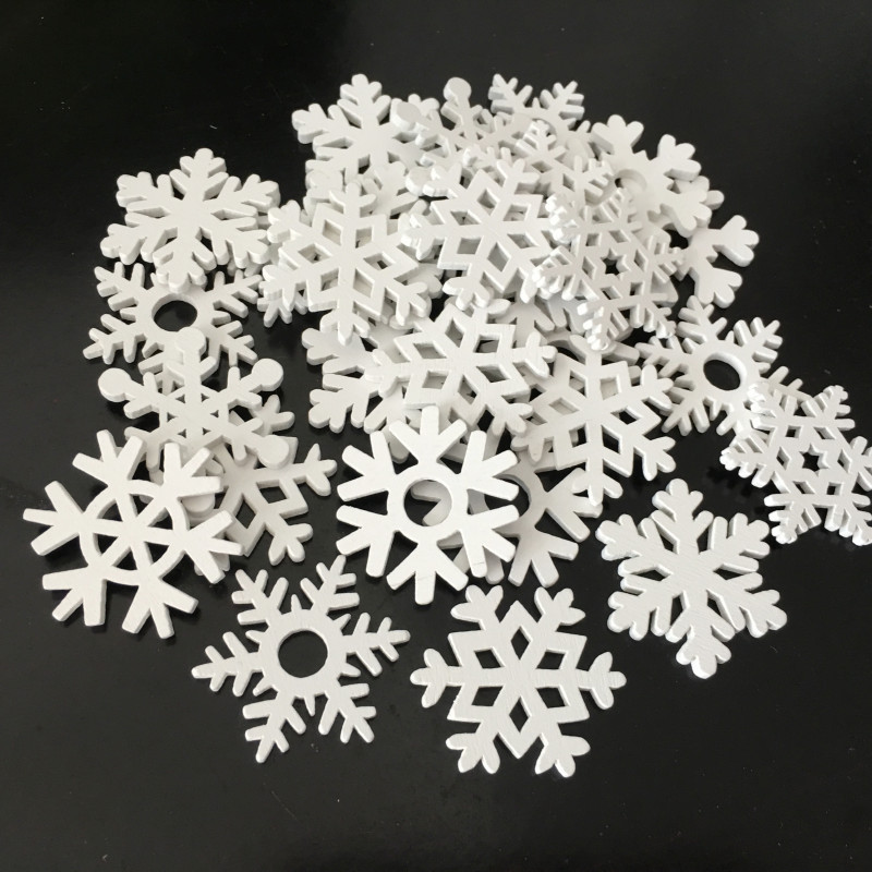 Christmas Snowflake Buttons DIY Craft White Snow Flakes Sewing Buckle 100pcs