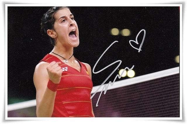 Carolina Marin Martin autografiada firmado con la foto de la pluma 4*6 pulgadas estrella del deporte freeshipping 10.2016 C