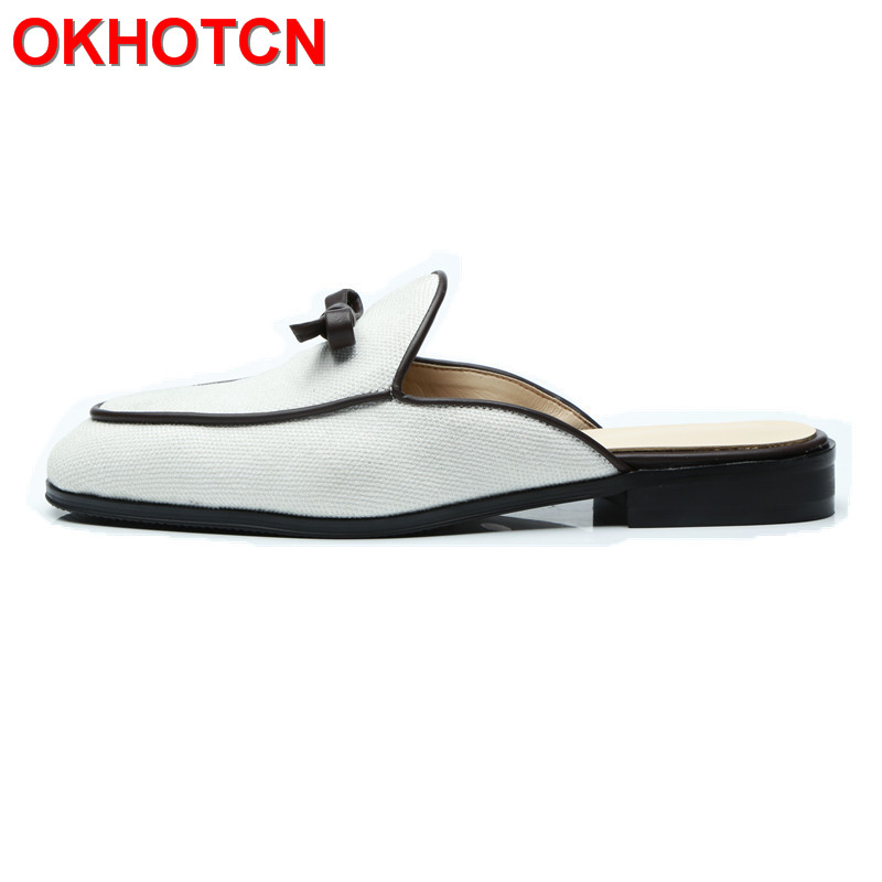 Fashion Men Slippers Shoes Outdoor Spring Autumn Home Slippers Men Shoes White Cloth Leather Slippers Men Bowknot Sewing Slides fghgf shoes men s slippers hma