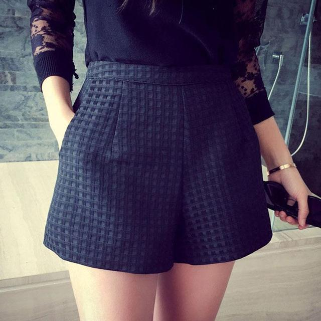 2016 New Fashion Europe And Dark Plaid Shorts High-waisted Shorts Korean Casual Women Jeans Shorts Crochet Shorts