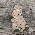 Cinco estilo Neutro estilo aldeia encantadora veados árvore padrão de maçã quente meias das mulheres