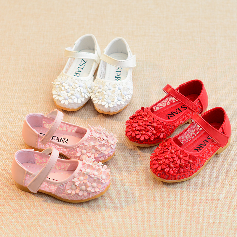 2018 New Fashion Cut-Outs Girls Sandals Princess Flowers Shoes Children'S Shoe Girl Summer Kids Lace Sandals Infant Shoes Red