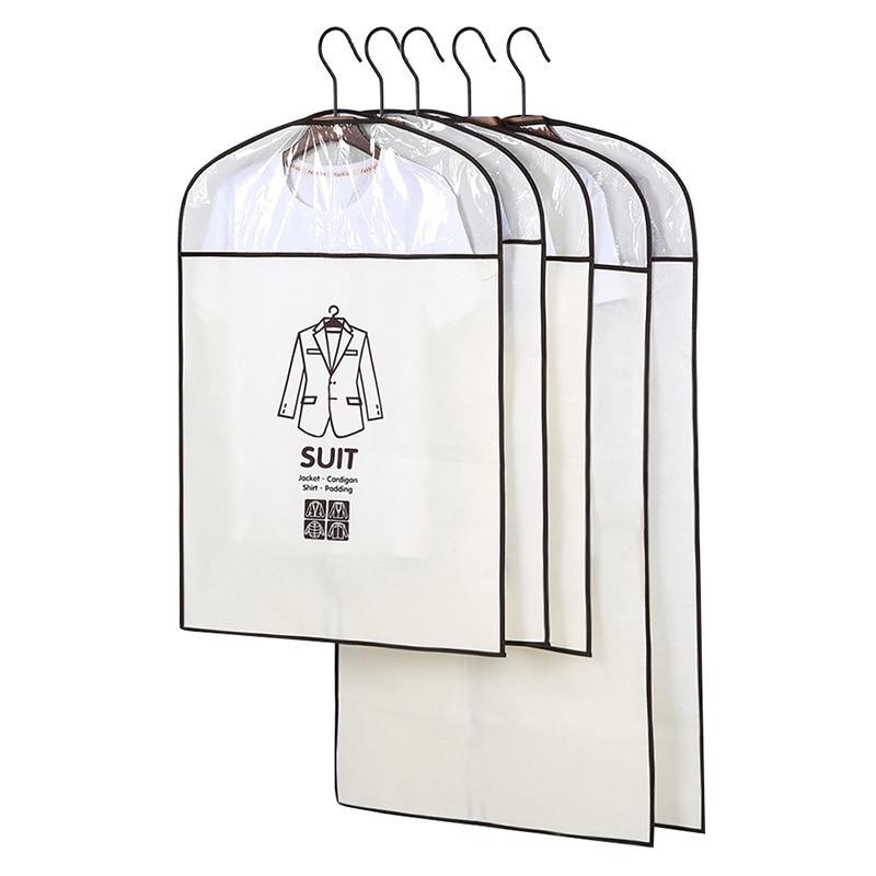 5pcs/set Medium Large Size Garment Dustproof Cover Storage Bags Clothes Suit Coat Dress Jacket Protector Moth Proof