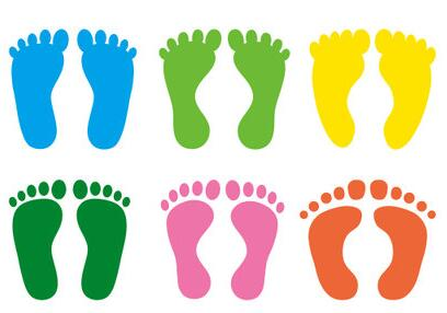 Cartoon Footprint Pvc Adhesive Label Store Shop