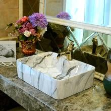 Rectangular artístico hecho a mano China Europa Vintage Lavabo de cerámica de baño arte mostrador baño Lavabo